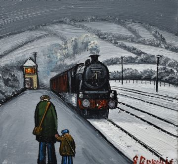 James Downie Original Oil Painting Waiting For The Train In The Snow
